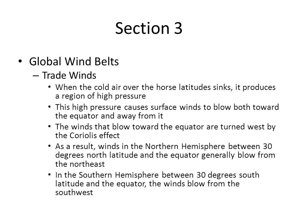 Section 3 Global Wind Belts Trade Winds