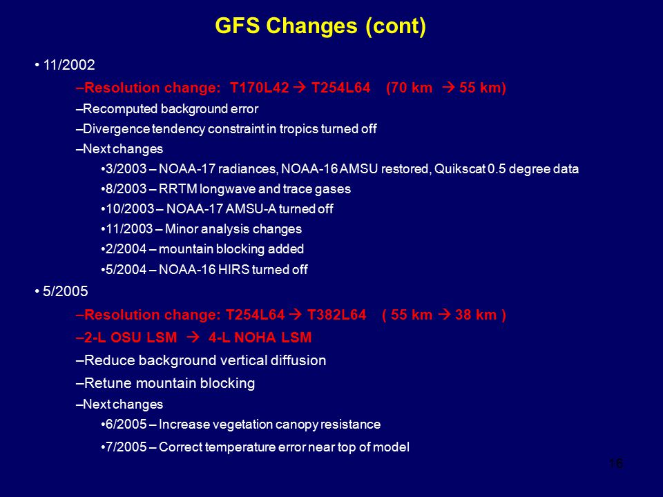 GFS Changes (cont) 11/2002. Resolution change: T170L42  T254L64 (70 km  55 km) Recomputed background error.