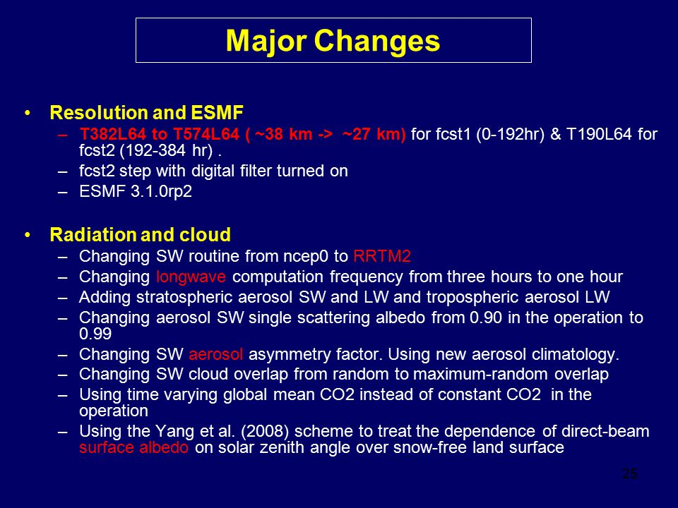 Major Changes Resolution and ESMF Radiation and cloud