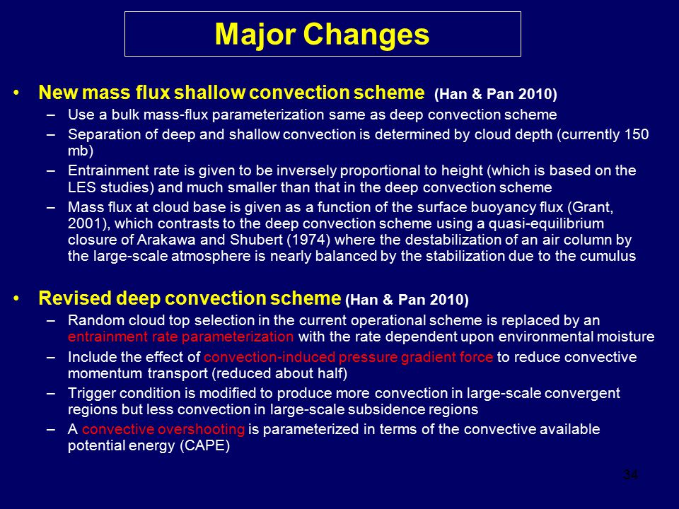Major Changes New mass flux shallow convection scheme (Han & Pan 2010)