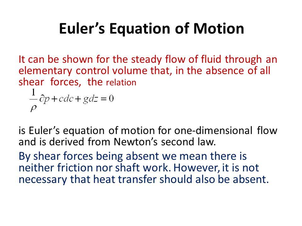 Euler's Equation of Motion