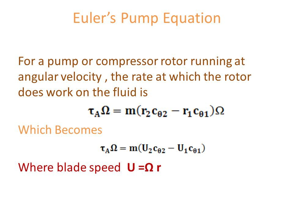 Euler's Pump Equation