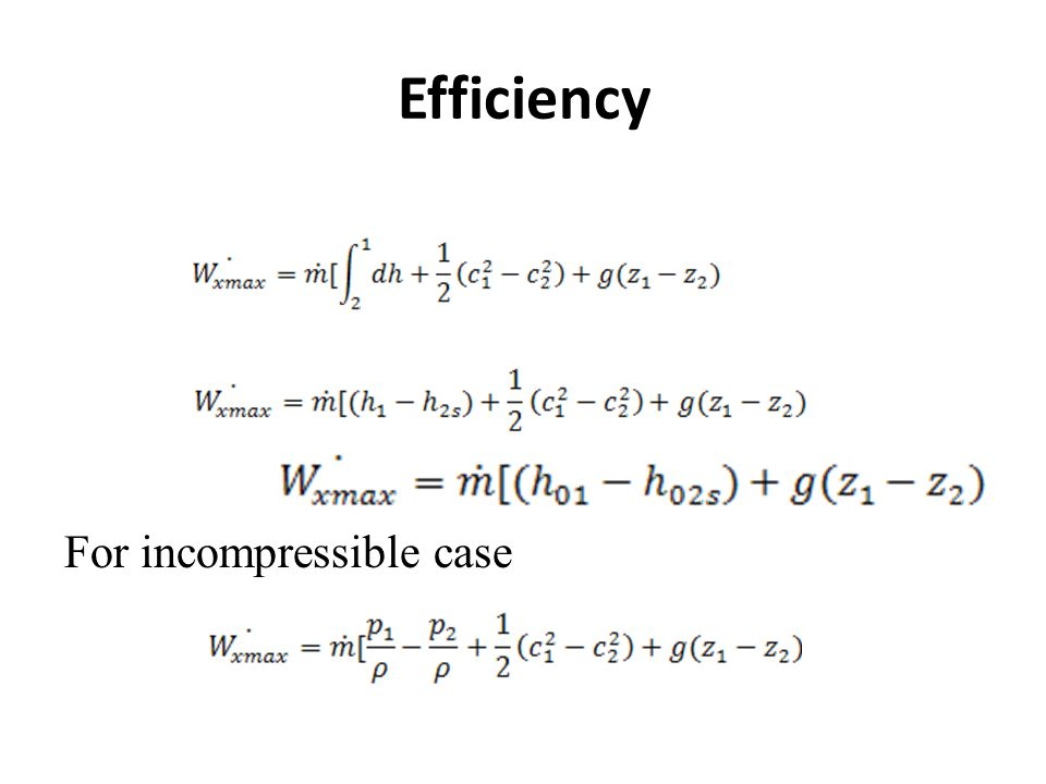 Efficiency For incompressible case