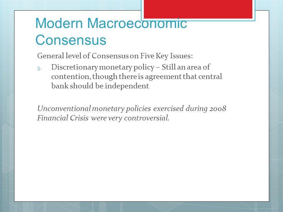 Modern Macroeconomic Consensus