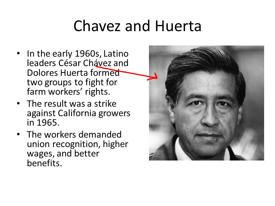 Chavez and Huerta In the early 1960s, Latino leaders César Chávez and Dolores Huerta formed two groups to fight for farm workers' rights.