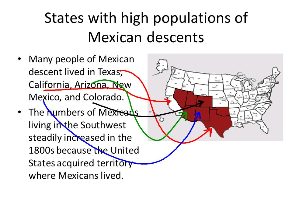 States with high populations of Mexican descents
