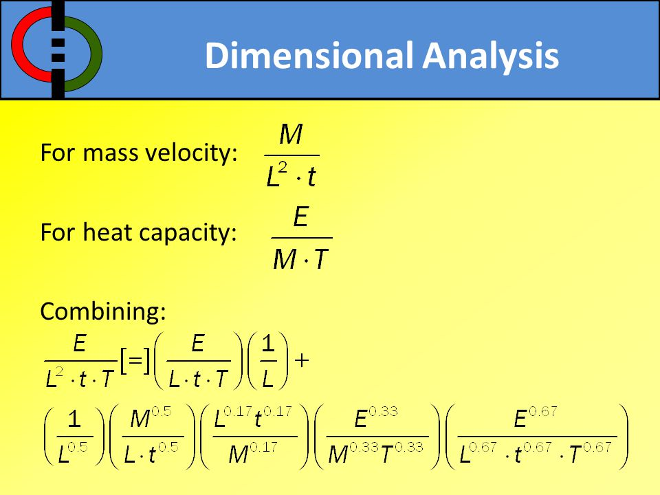 Dimensional Analysis For mass velocity: For heat capacity: Combining: