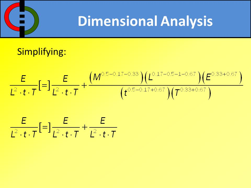 Dimensional Analysis Simplifying: