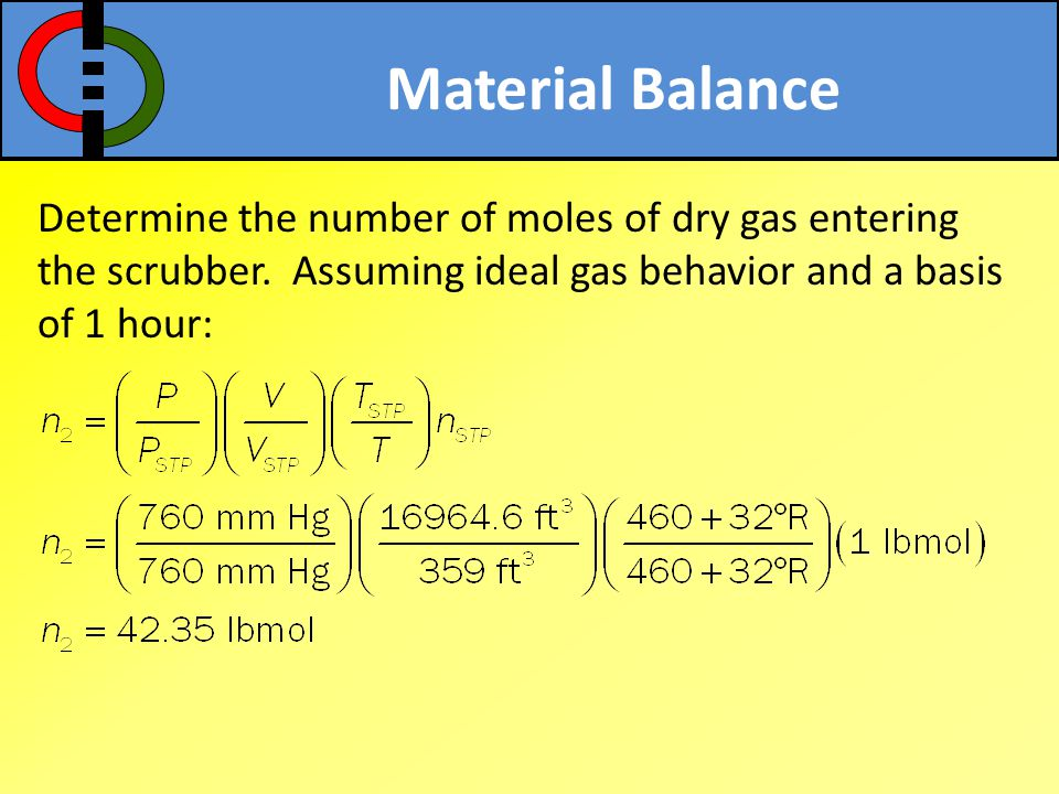 Material Balance Determine the number of moles of dry gas entering the scrubber.