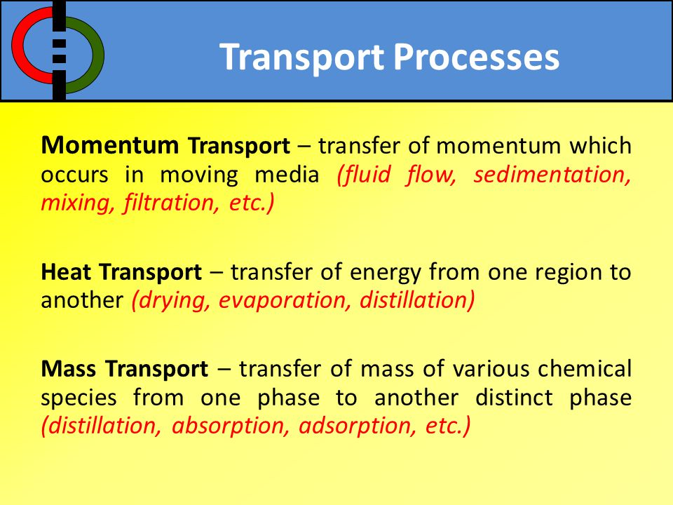 Transport Processes Momentum Transport – transfer of momentum which occurs in moving media (fluid flow, sedimentation, mixing, filtration, etc.)