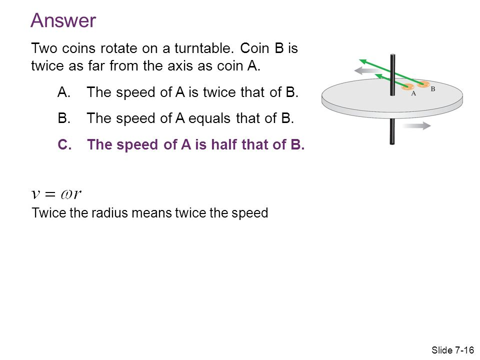 Answer Two coins rotate on a turntable. Coin B is twice as far from the axis as coin A. The speed of A is twice that of B.