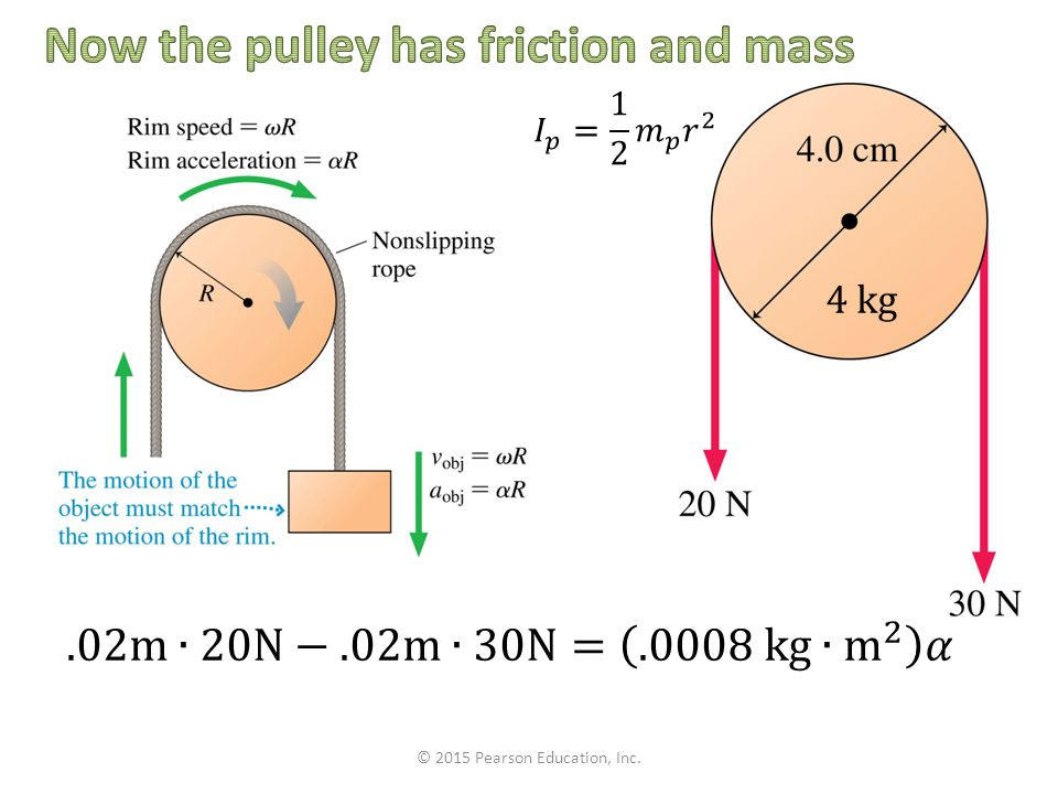 Now the pulley has friction and mass