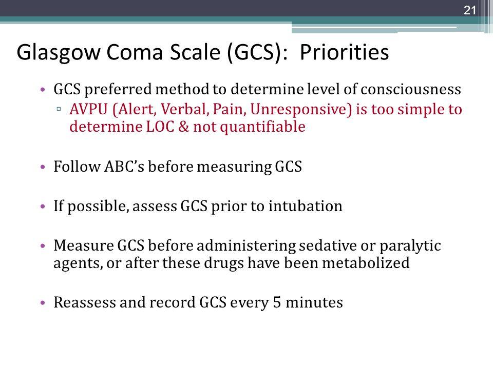 Glasgow Coma Scale (GCS): Priorities