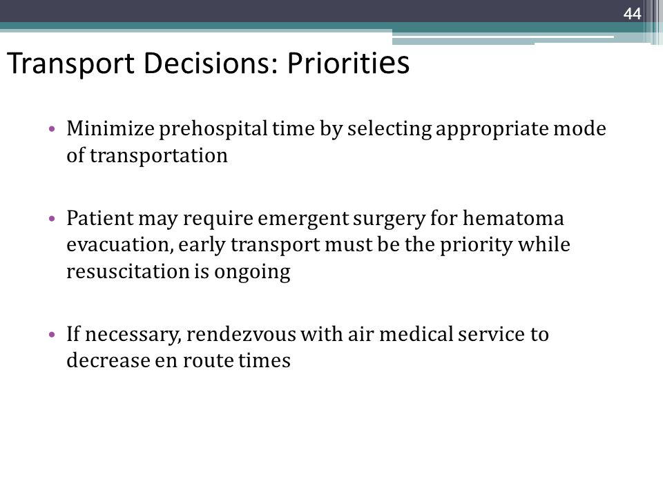 Transport Decisions: Priorities