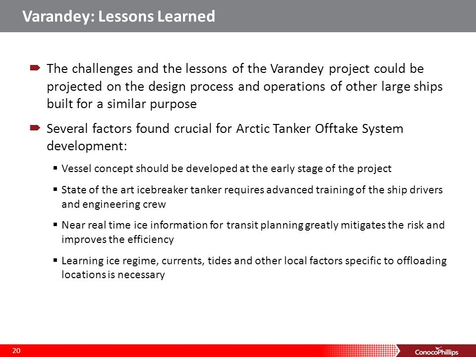 Varandey: Lessons Learned