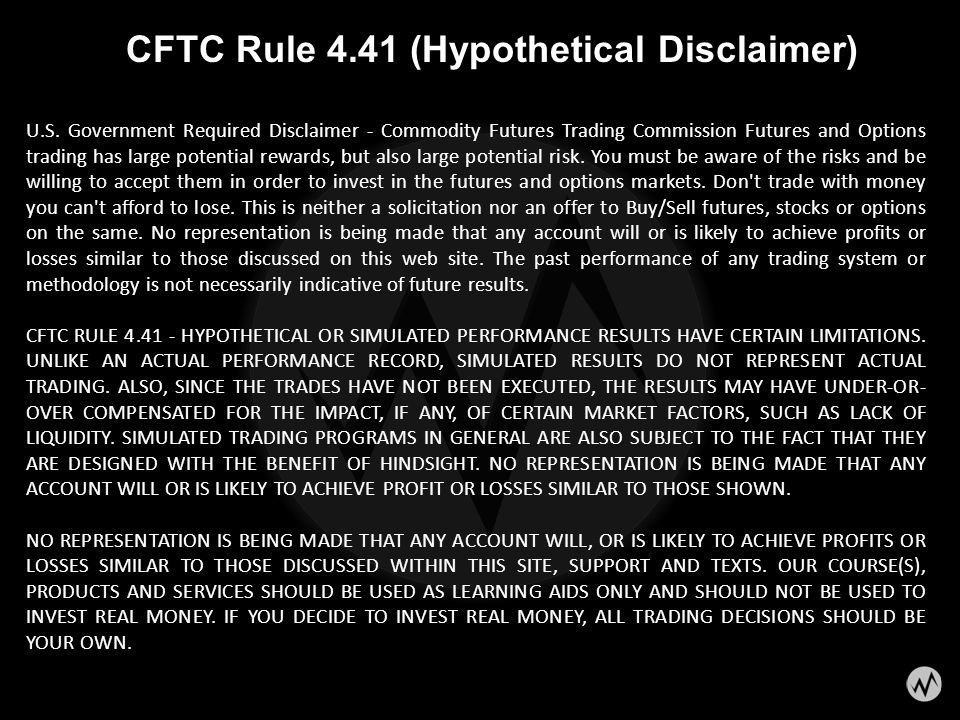 CFTC Rule 4.41 (Hypothetical Disclaimer)