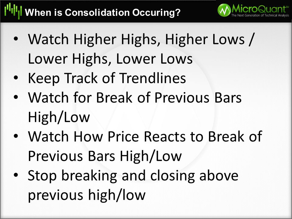 Watch Higher Highs, Higher Lows / Lower Highs, Lower Lows
