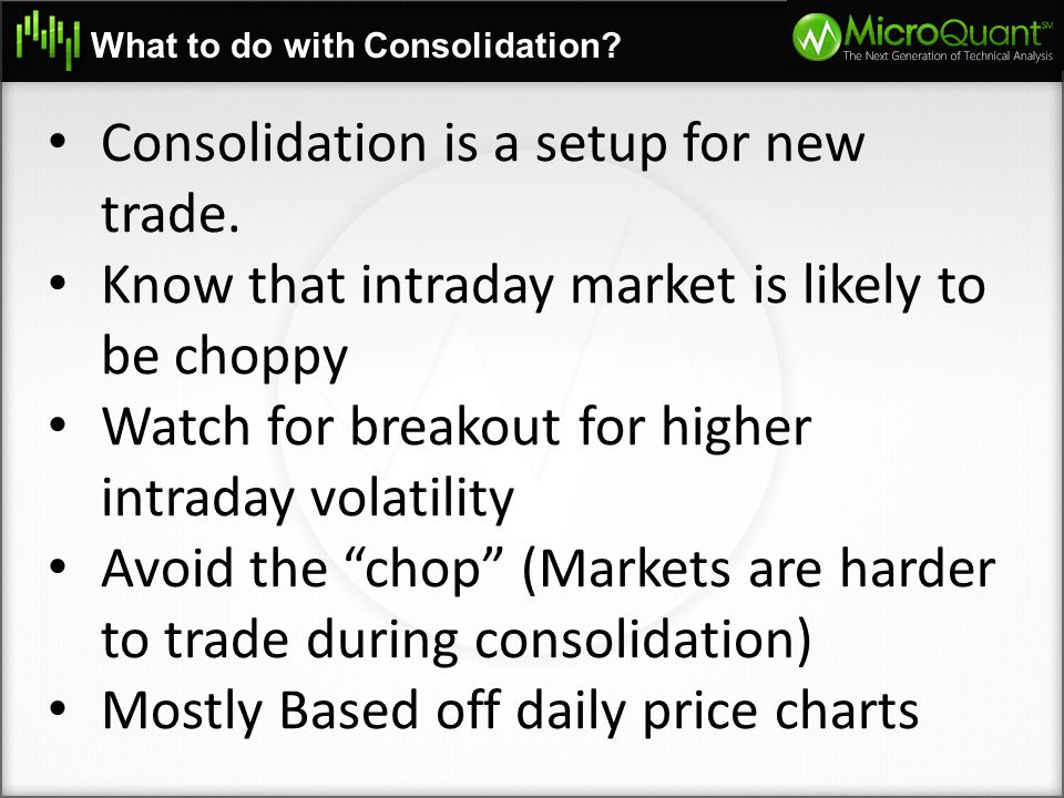 Consolidation is a setup for new trade.