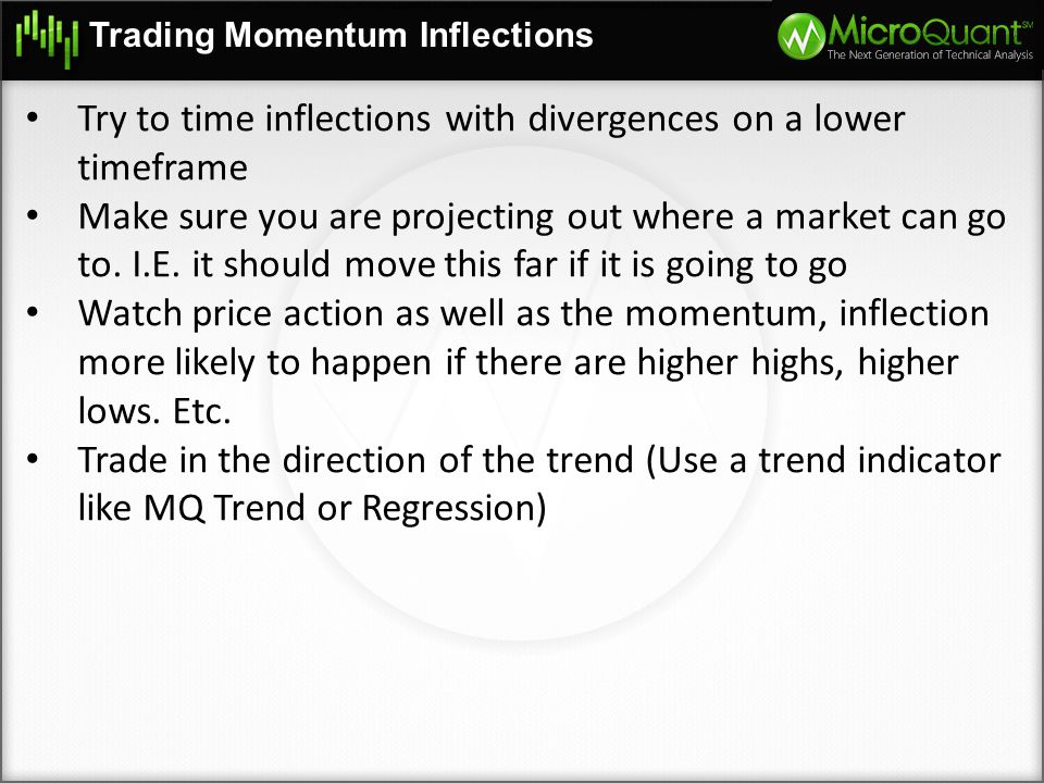 Try to time inflections with divergences on a lower timeframe