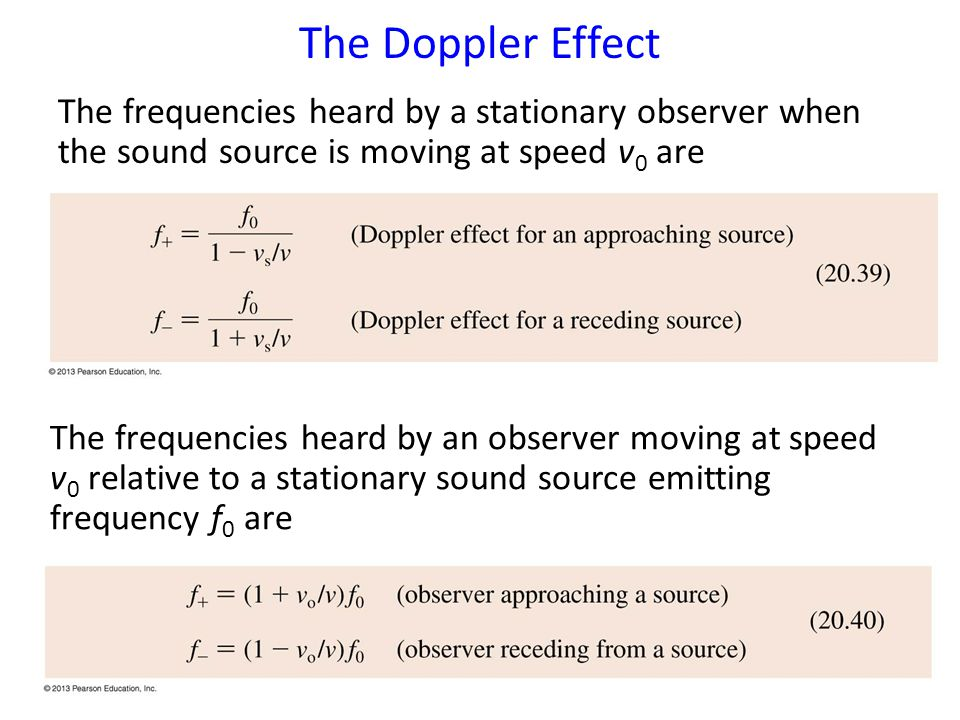 The Doppler Effect The frequencies heard by a stationary observer when the sound source is moving at speed v0 are.