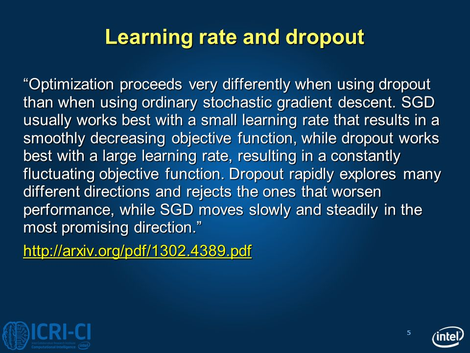 Learning rate and dropout