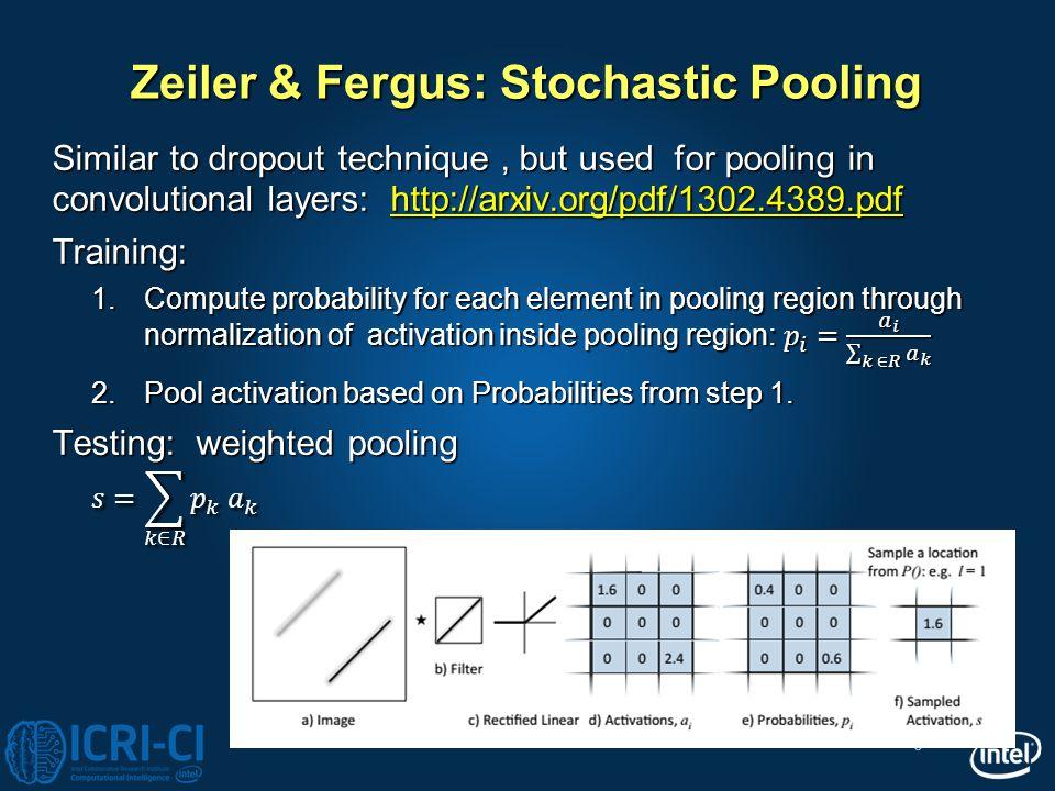 Zeiler & Fergus: Stochastic Pooling