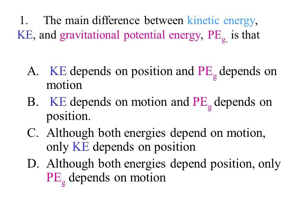 KE depends on position and PEg depends on motion