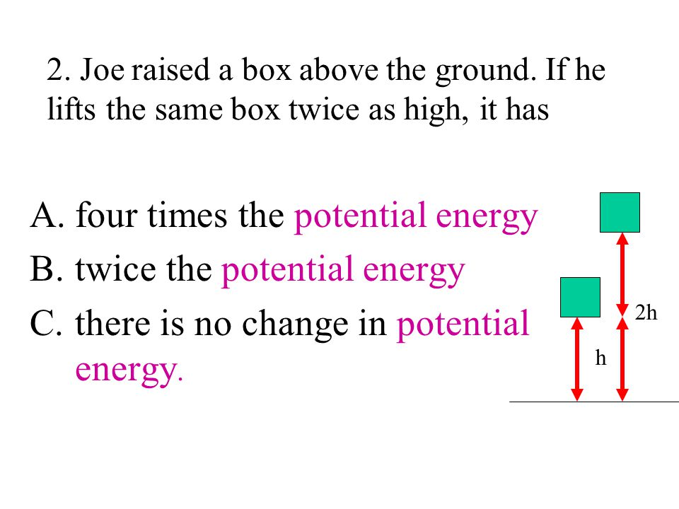 four times the potential energy twice the potential energy