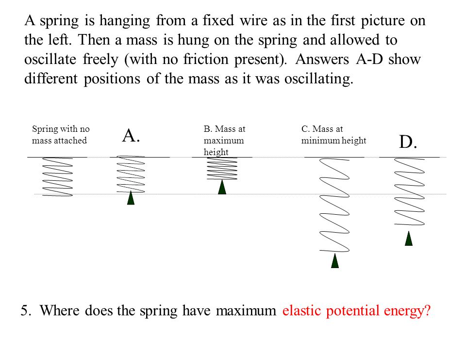 A spring is hanging from a fixed wire as in the first picture on the left. Then a mass is hung on the spring and allowed to oscillate freely (with no friction present). Answers A-D show different positions of the mass as it was oscillating.