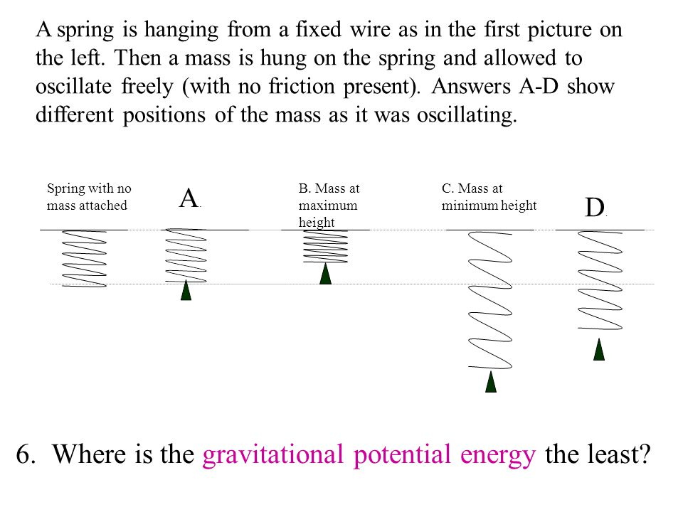 6. Where is the gravitational potential energy the least