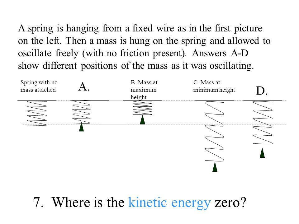 7. Where is the kinetic energy zero