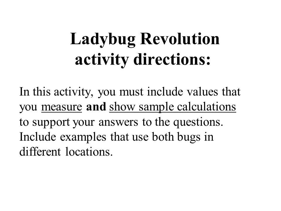 Ladybug Revolution activity directions: