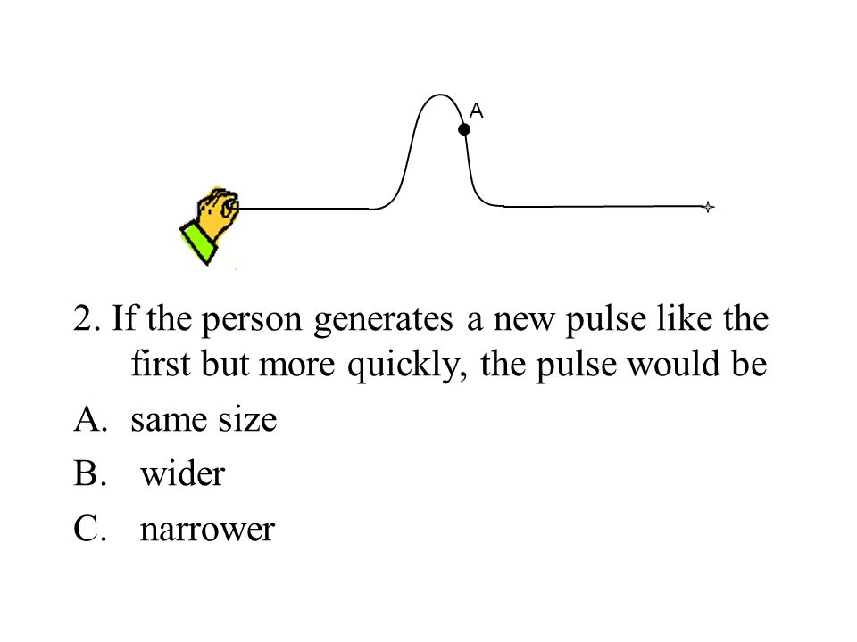 A 2. If the person generates a new pulse like the first but more quickly, the pulse would be. same size.