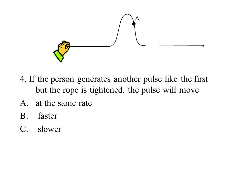 A 4. If the person generates another pulse like the first but the rope is tightened, the pulse will move.