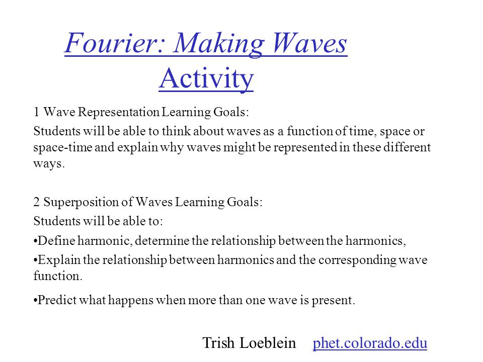 Fourier: Making Waves Activity