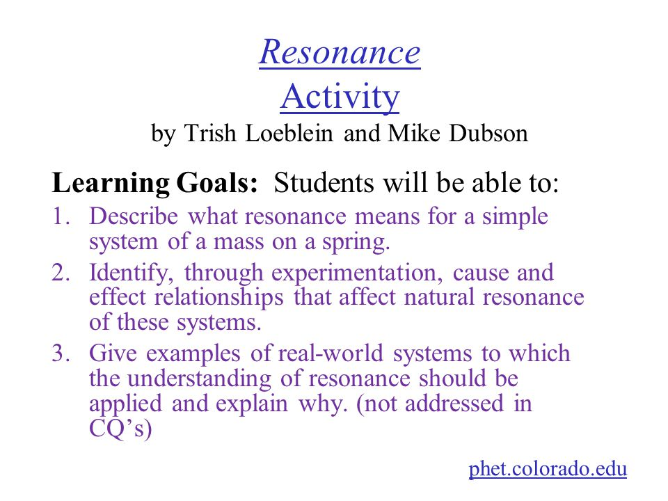 Resonance Activity by Trish Loeblein and Mike Dubson