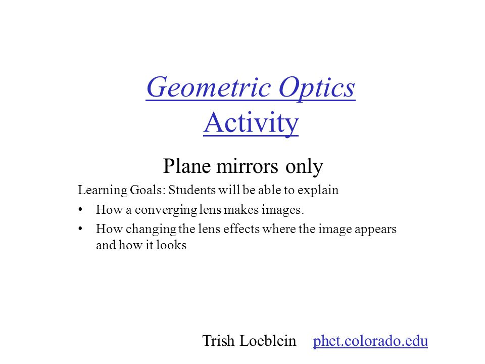 Geometric Optics Activity