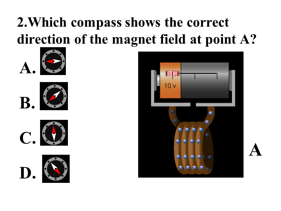 2.Which compass shows the correct direction of the magnet field at point A