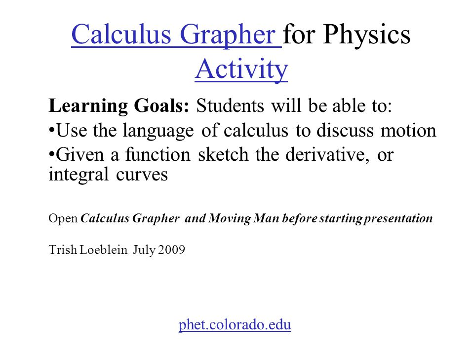 Calculus Grapher for Physics Activity
