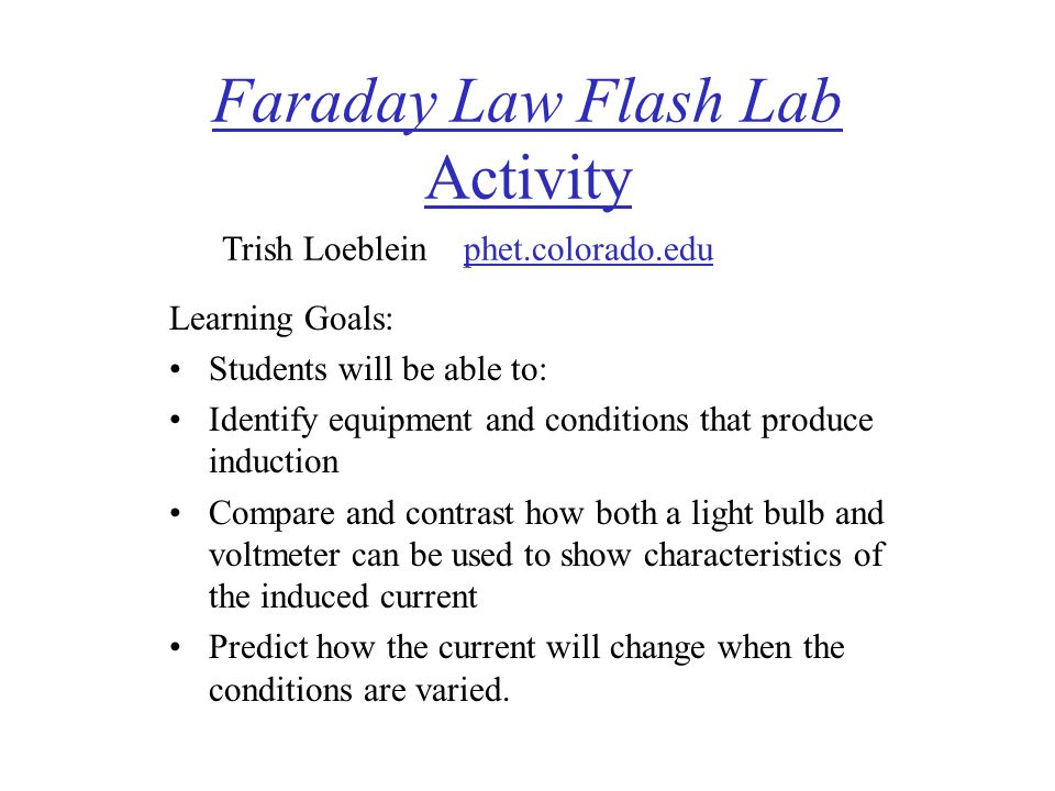 Faraday Law Flash Lab Activity