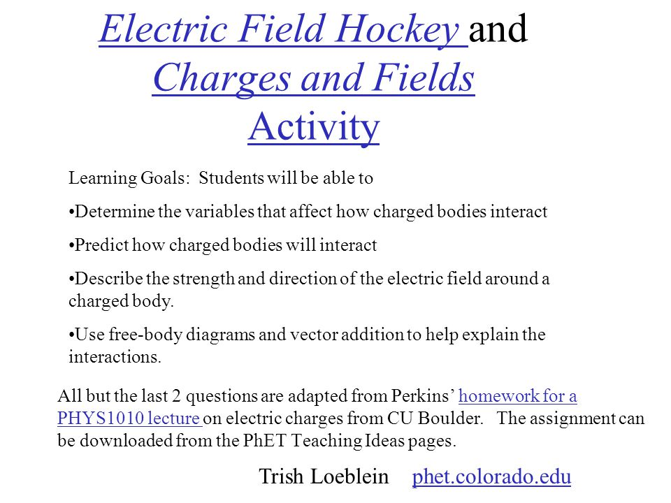 Electric Field Hockey and Charges and Fields Activity