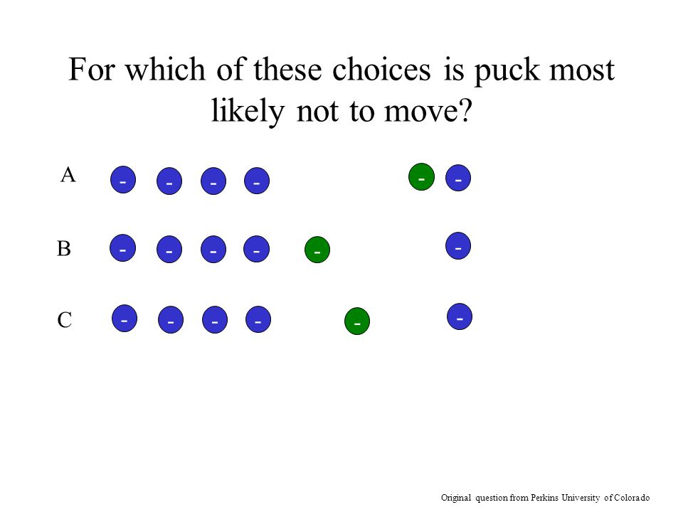 For which of these choices is puck most likely not to move
