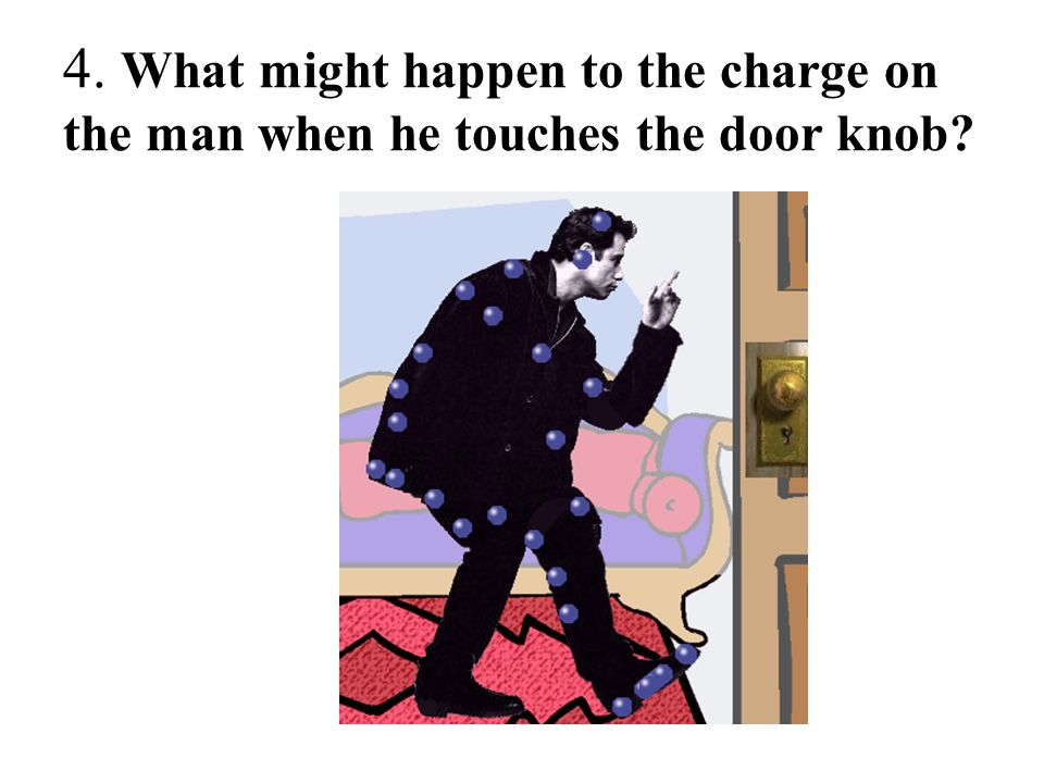 4. What might happen to the charge on the man when he touches the door knob