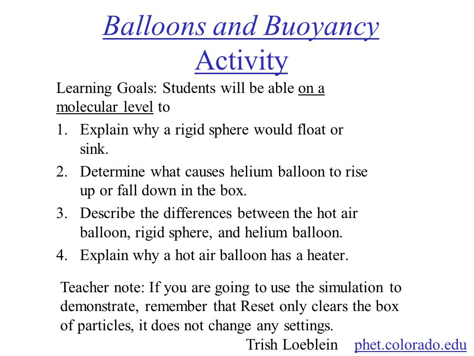 Balloons and Buoyancy Activity