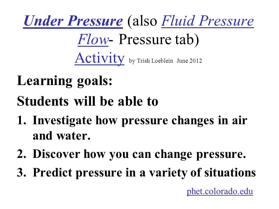 Under Pressure (also Fluid Pressure Flow- Pressure tab) Activity by Trish Loeblein June 2012