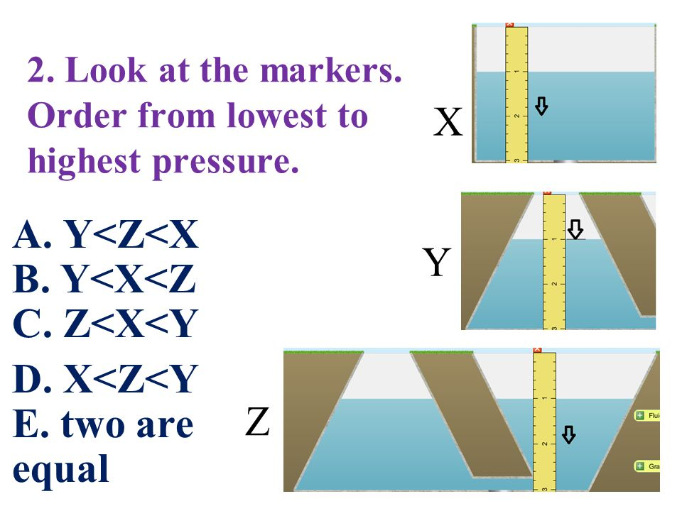 2. Look at the markers. Order from lowest to highest pressure.