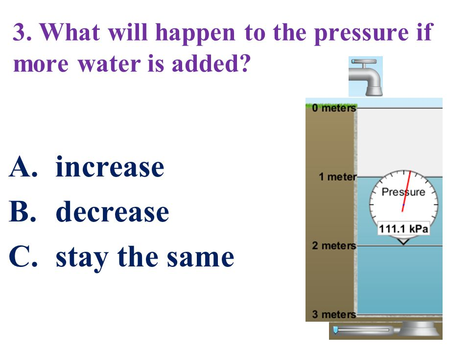 3. What will happen to the pressure if more water is added