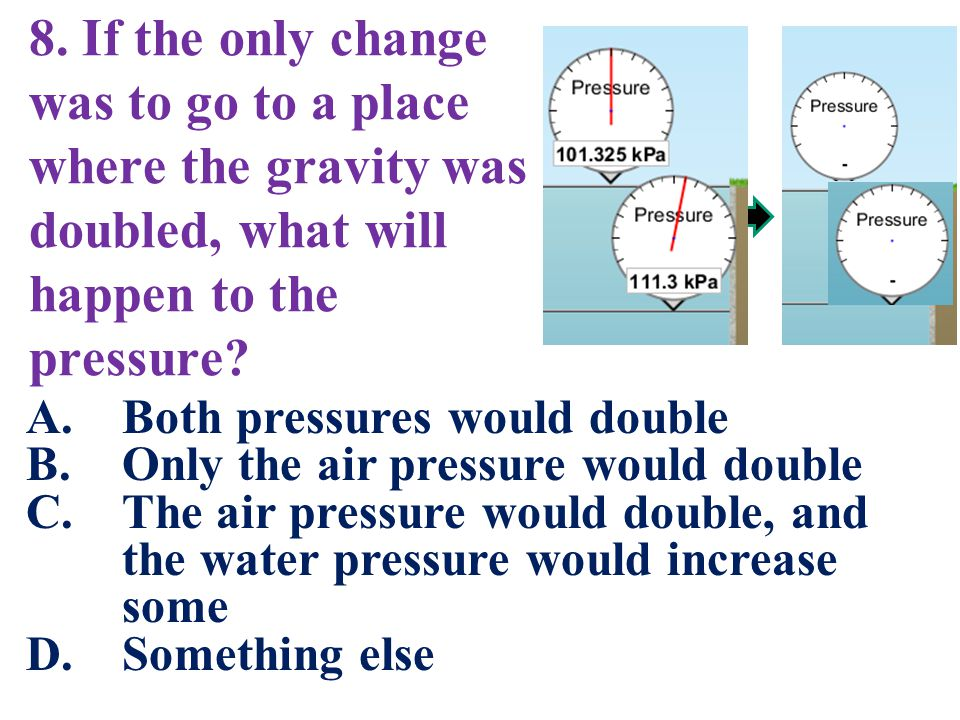 8. If the only change was to go to a place where the gravity was doubled, what will happen to the pressure