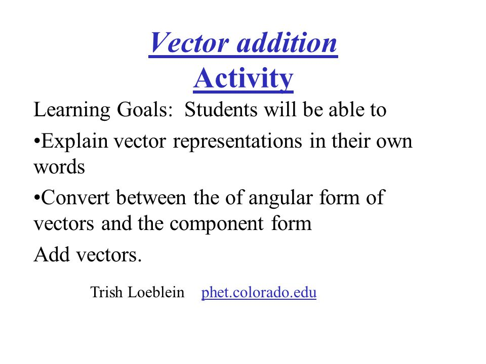 Vector addition Activity
