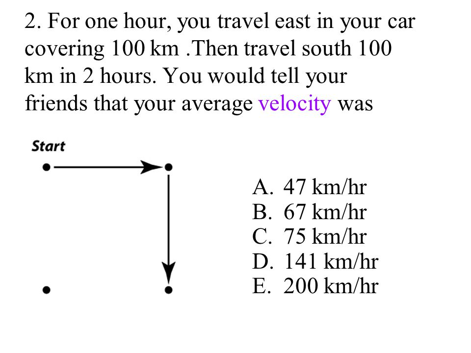 2. For one hour, you travel east in your car covering 100 km